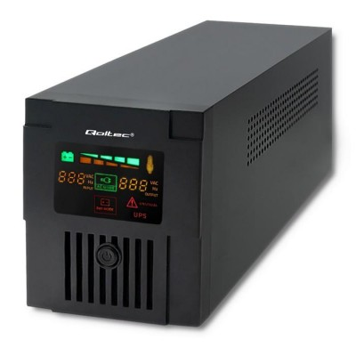 Qoltec 53953 Uninterruptible Power Supply | Monolith | 1000VA | 600W | LCD | USB