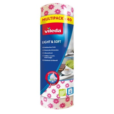 Rubber VILEDA Light & Soft in roll 40 pcs ( white with flowers)