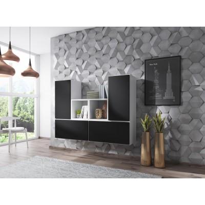 Cama living room furniture set ROCO 18 (4xRO3 + 2xRO6) white/white/black