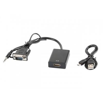 Lanberg AD-0021-BK cable interface/gender adapter VGA HDMI Black