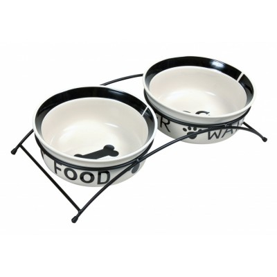 TRIXIE 24641 A set of ceramic bowls on a stand 0.6 l