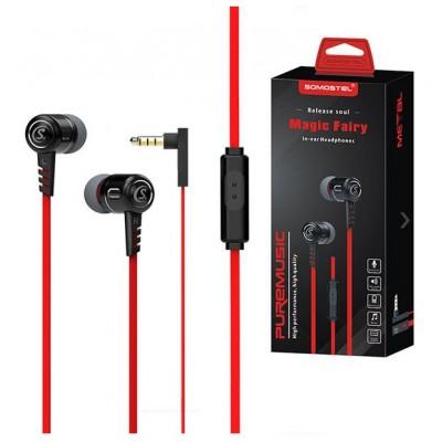 UNIVERSAL HEADPHONES SOMOSTEL SMS-SJ01B 3.5 INCH BLACK RED EAR MAGIC FAIRY - FLAT CABLE