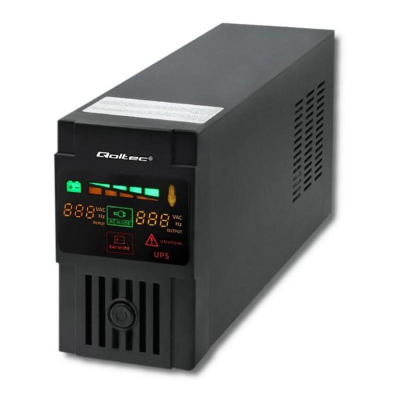 Qoltec 53952 Uninterruptible Power Supply | Monolith | 800VA | 480W | LCD | USB