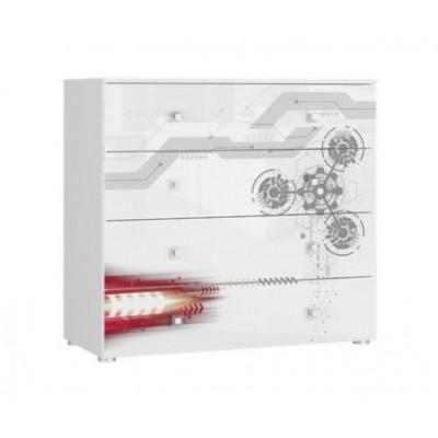 Tuckano Chest of 4 drawers 100x93x47 SPACESHIP 06 white/white gloss/gear print
