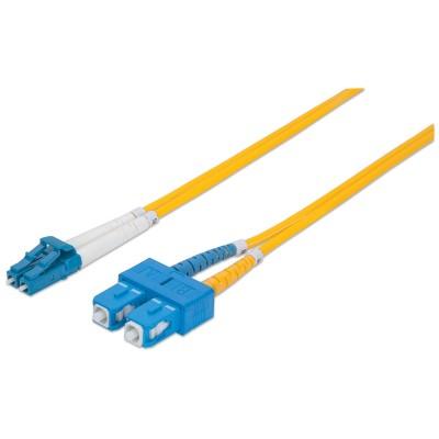 Intellinet Fibre Optic Patch Cable, OS2, LC/SC, 2m, Yellow, Duplex, Single-Mode, 9/125 µm, LSZH, Fiber, Lifetime Warranty, Polybag