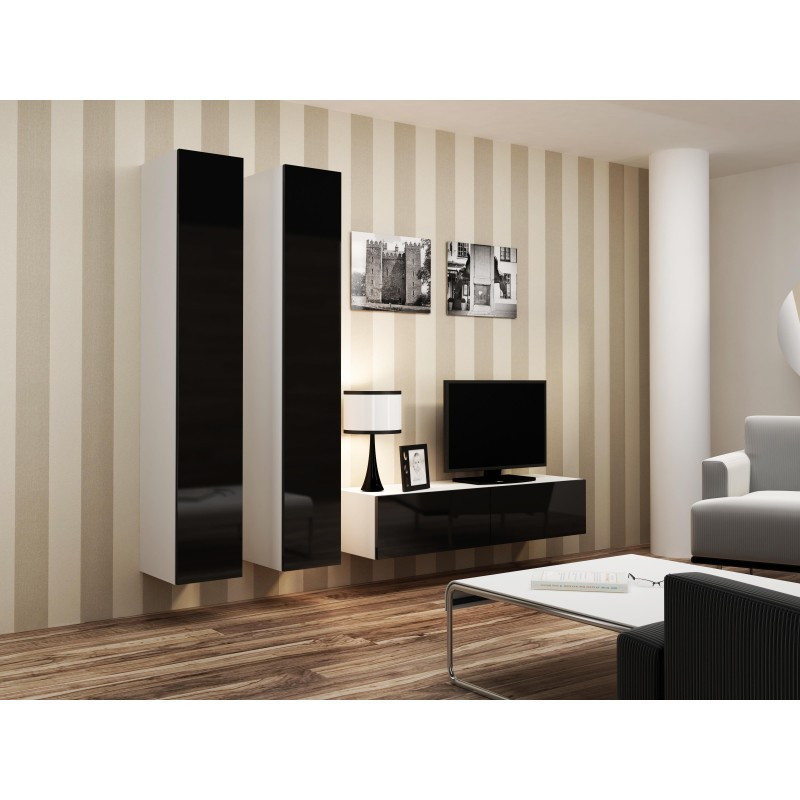 Cama Living room cabinet set VIGO 9 white/black gloss