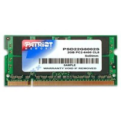 Patriot Memory DDR2 2GB CL5 PC2-6400 (800MHz) SODIMM memory module