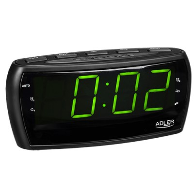 Adler AD 1121 radio Clock Analog & Digital Black