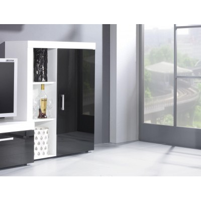 Cama bookcase SAMBA white/black gloss