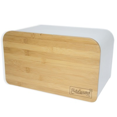 Feel-Maestro MR1770 bread box Rectangular White, Wood Plastic, Wood