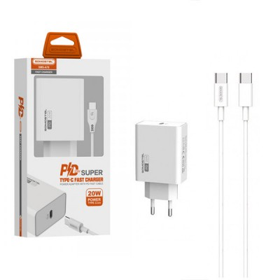 MAIN CHARGER 20W + CABLE TYP-C WHITE SOMOSTEL POWER DELIVERY SMS-A78 PD