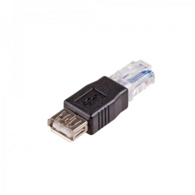 Akyga AK-AD-27 cable interface/gender adapter RJ45 USB 2.0 type A Black