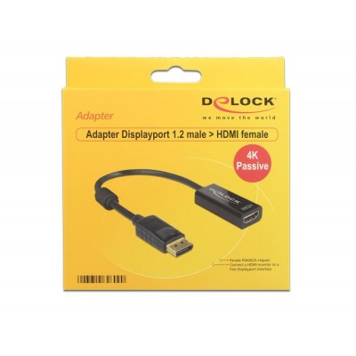 DeLOCK 62609 video cable adapter 0.2 m DisplayPort 1.2 HDMI Black
