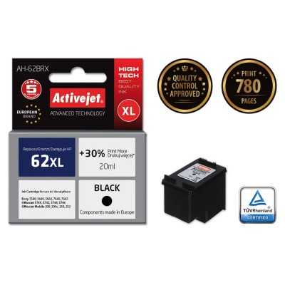 Activejet AH-62BRX black ink for Hewlett Packard 62XL C2P05AE refurbished