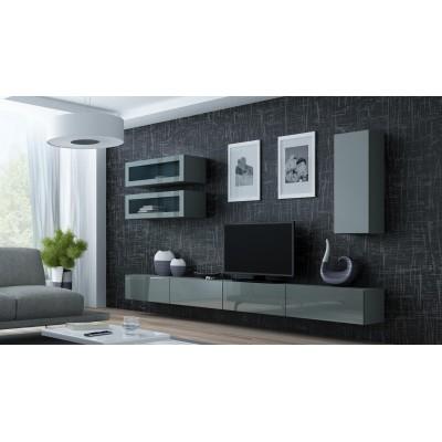 """Cama Cabinet VIGO """"90"""" glass 90/35/32 grey/grey gloss"""