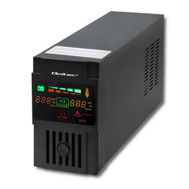 Qoltec 53951 Uninterruptible Power Supply | Monolith | 600VA | 360W | LCD | USB