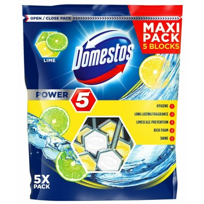 Domestos Power 5 Disinfecting cleaner Solid Lime