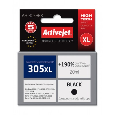 Activejet AH-305BRX ink for HP printer; HP 305XL 3YM62AE replacement; Premium; 20 ml; black