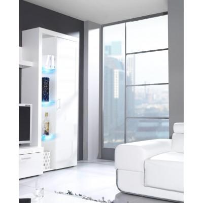 Cama high display cabinet SAMBA white/white gloss
