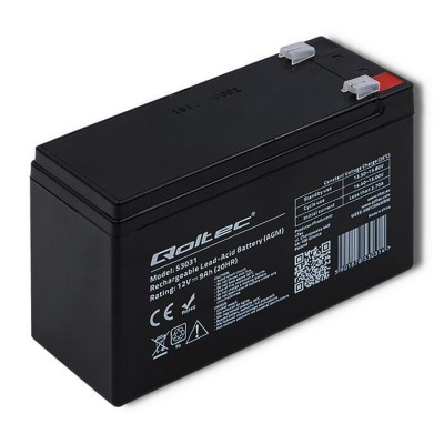 Qoltec 53031 AGM battery | 12V | 9Ah | max 135A