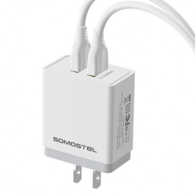 SOMOSTEL Dual USB Ports Fast Charging Travel Adapter Support QC3.0