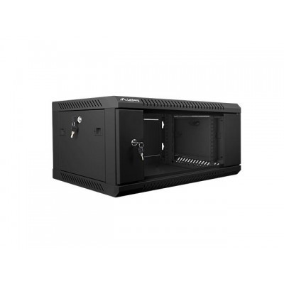 Lanberg 19'' wall-mounted installation cabinet 4U 600x450mm black (glass door)