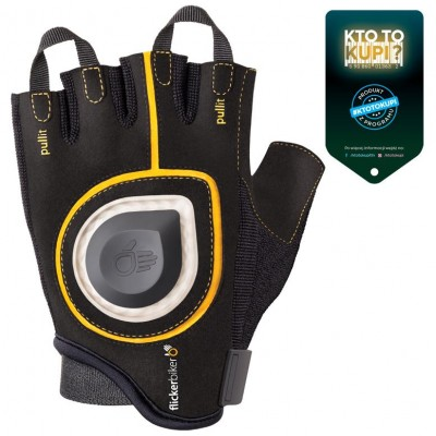 Bicycle gloves FLICKERBIKER with a light signal, M, Yellow