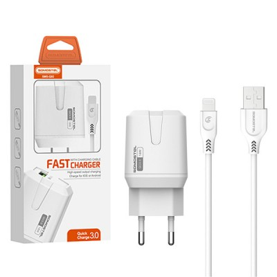 MAIN CHARGER 3A + CABLE IPHONE WHITE 18W SOMOSTEL 3000mAh USB SMS-Q02 FAST CHARGING