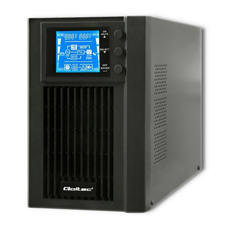 Qoltec 53042 Uninterruptible Power Supply | On-line | Pure Sine Wave | 1kVA | 800W | LCD