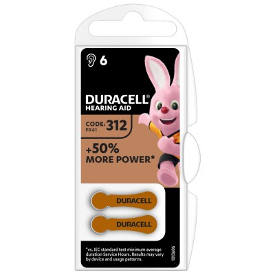 Bateria do aparatów słuchowych DURACELL 312 6 szt.