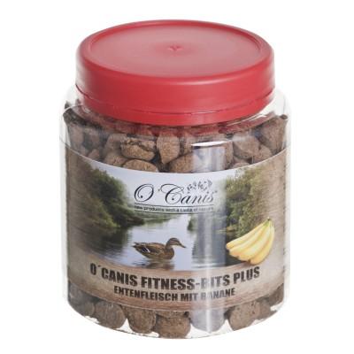 O'CANIS Fitnes Bits plus 300g, słoik PET Przysmak trenerski: kaczka z bananami