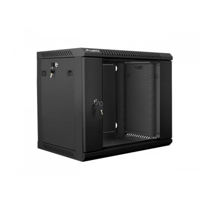 Lanberg 19'' wall-mounted installation cabinet 9U 600x450mm black (glass door)
