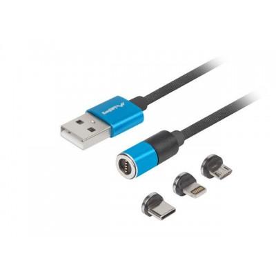 COMBO CABLE USB-A(M)->USB MICRO(M)+LIGHTNING(M)+USB-C(M) 2.0 1M BLACK & BLUE QC 3.0 MAGNETIC LANBERG