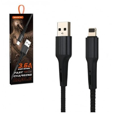 USB CABLE IPHONE 3.6A BLACK SOMOSTEL 3600mAh QUICK CHARGER QC 3.0 1M POWERLINE SMS-BW06 - TEXTILE BRAID