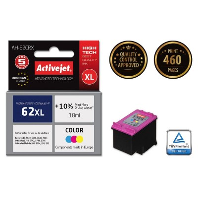 Activejet AH-62CRX colour ink for HP 62XL C2P07AE refurbished