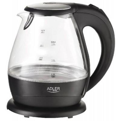 Adler AD 1224 electric kettle 1.5 L Black,Transparent 2000 W