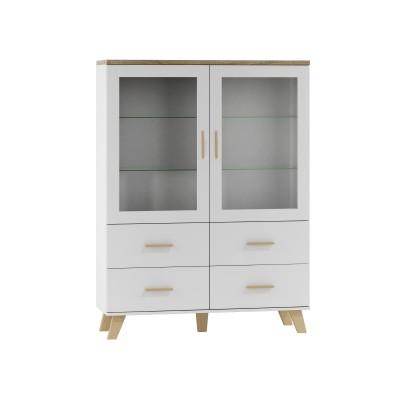 Cama display cabinet LOTTA 2D4D white + sonoma oak