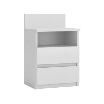 Topeshop M1 BIEL MAT nightstand/bedside table 2 drawer(s) White