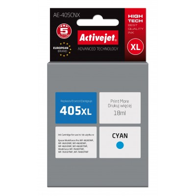 Activejet AE-405CNX ink replacement Epson 405XL C13T05H24010; Compatiable; 18ml; Printing colours: cyan; 5 years warranty.